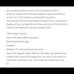ivory ella Tops - NWT Amethyst Organic Cropped Ivory Ella Hoodie XL
